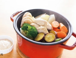 蒸し野菜&蒸し鶏de離乳食★大豆マヨネーズ添え