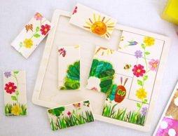 おひさまやお花に囲まれた「はらぺこあおむし」、木製パズルの登場です!
