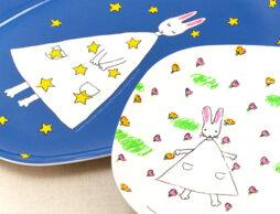 【絵本ナビ限定】 お花畑? お星さま? どっちのお皿を使おうかな♪ たまらなく可愛い『わたしのワンピース』メラミントレー2枚セット!